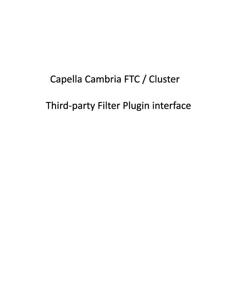 Third-Party Filter PlugIn Interface